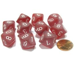 Frosted - Red/White d10