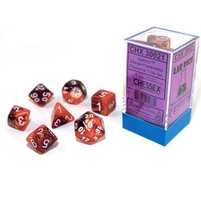 Gemini Orange-Purple/white 7-Die Set