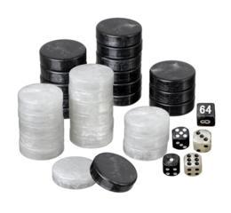 Backgammon pieces, large, 34 x 10 mm, plastic, black / white, incl. dice