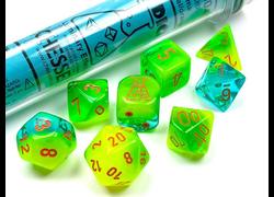 Gemini Luminary Plasma Green-Teal/Orange Polyhedral 7-Die Set