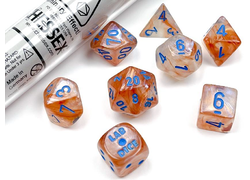 Borealis Luminary Rose Gold/Light Blue Polyhedral 7-Die Set